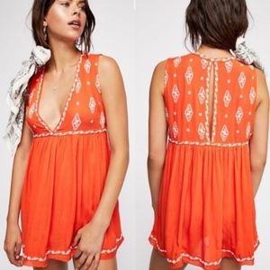 Free People Diamond Embroidered Orange Top